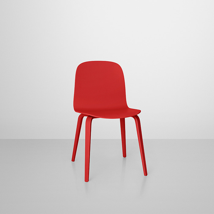 *Visu Chair, Wood Base Red