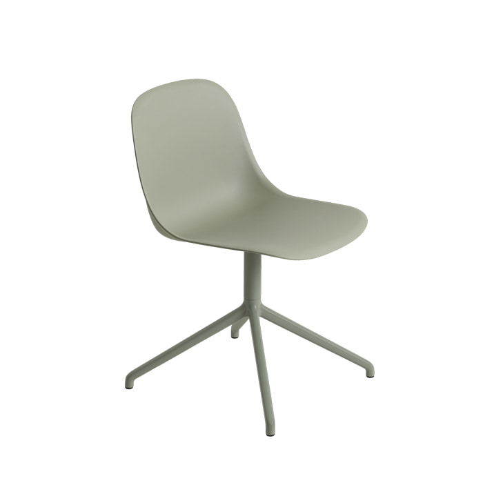 Fiber Side Chair, Swivel base W/O. RETURN Dusty green